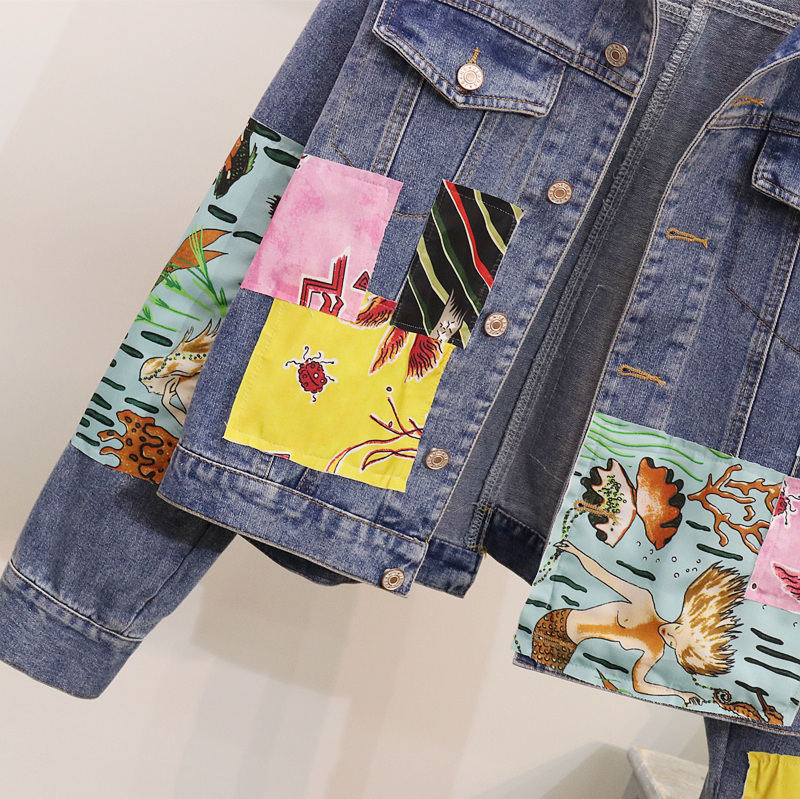 Outerwear Coat Cartoon Cakucool Boho Embroid Jackets For Jeans Appliques Female Women Vintage Spliced Denim Spring Jacket wqB7qAg