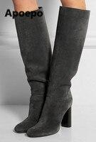 2017 Autumn Winter Women Boots Suede Long Boots Dark Gray Black Knee High Chunky Heel Boots