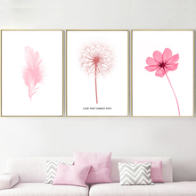Pink Flower Feather Dandelion Landscape Wall Art Canvas Painting Nordic Posters And Prints Pictures For Living Room Decor