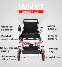 Aluminium Frame Power Electric Wheelchair with lithium battery lightweight best for disabled elderly people