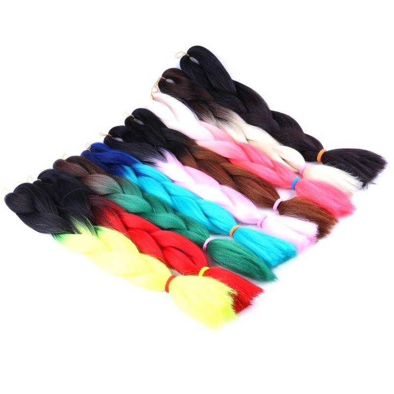 "Luxury For Braiding 10pcs/lot 24"" Black 99J Dark Wine Red Two Tone Ombre Kanekalon Braiding Hair African Synthetic Jumbo Braids"