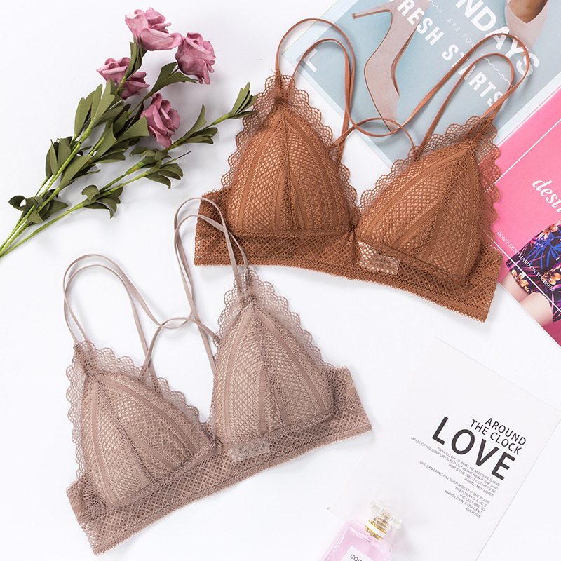 GUMPRUN Seamless Lace Bras For Women Adjusted Wireless Push Up Bra Comfort Breathable Underwear Backless Bralette Sexy Lingerie
