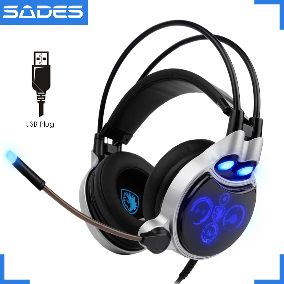 SADES SA-908 usb physical 7.1 surround gaming headset headphones led lights with microphone vibration volume control for pc game each g8200 gaming headphone 7 1 surround usb vibration game headset headband earphone with mic led light for fone pc gamer ps4