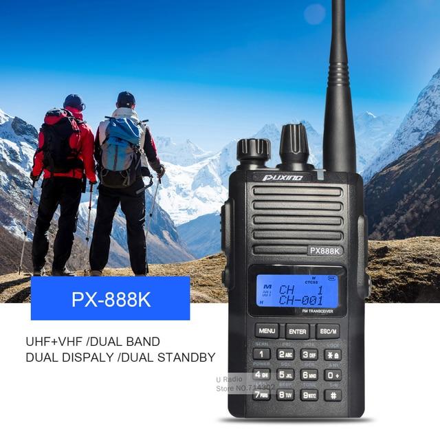Venta caliente puxing px-888k walkie talkie dual band dual display vhf136-174 y px888k uhf400-480mhz radio de dos vías walkie talkie