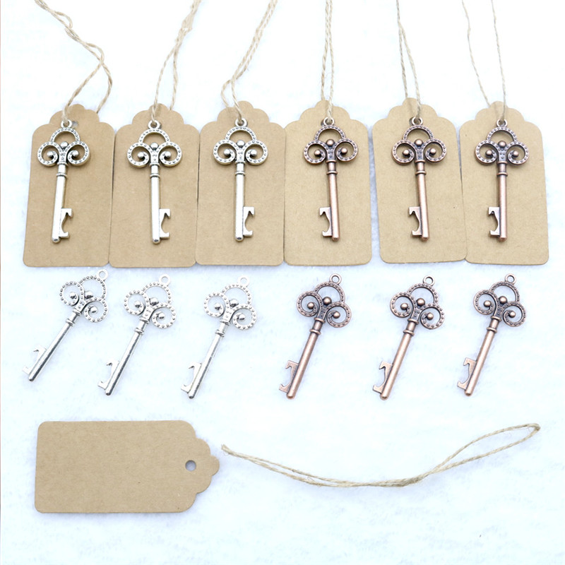50 Pcs/Lot Metal Skeleton Key Bottle Opener With Escort Tag Card Wedding Party Favor Guest Creative Gifts Rustic Wedding Decor