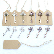 50 Pcs/Lot Metal Skeleton Key Bottle Opener with Escort Tag Card Wedding Party Favor Guest Creative Gifts Rustic Decor