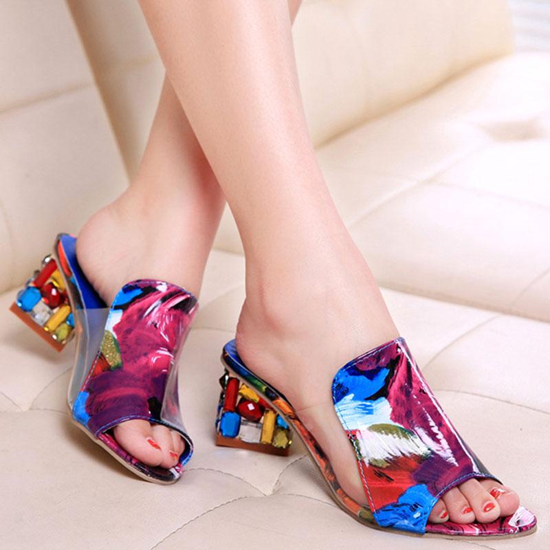 Fashion Heel Sandals Women Flats Flower Elegant Peep Toe Sandals PU Square Heels Colorful Ladies Casual Shoes Sandalias Mujer