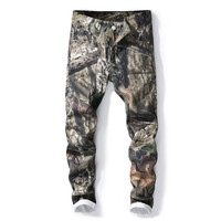European American style Men's pants Straight luxury brand trousers Camouflage army green zipper Skinny Pencil Pants for men