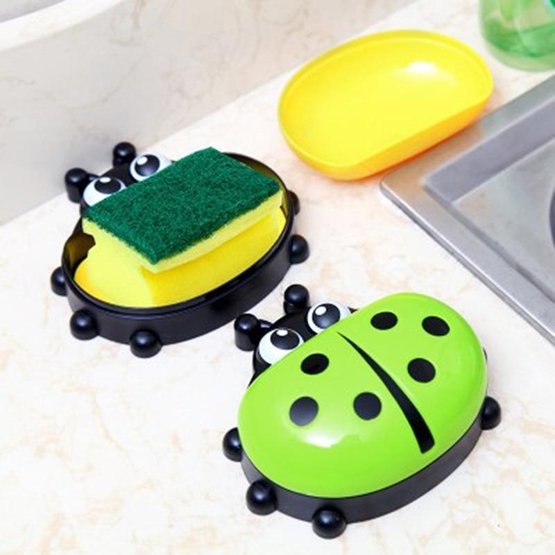 FHEAL Cute Ladybug Soap Box Badeværelse Aftap sæbeholder Køkken - Hjem opbevaring og organisation - Foto 3