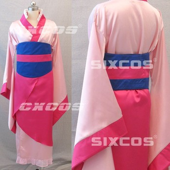 Anime Famous Movies Mulan Cosplay Costume Halloween Cosplay Uniform Kimono Pink Dress