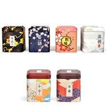 6Pcs Japanese Style Sakura Pastoral Iron Storage Jar Tank Mini Floral Tea Storage Box Tank Coffee Beans Sealed Container Cans