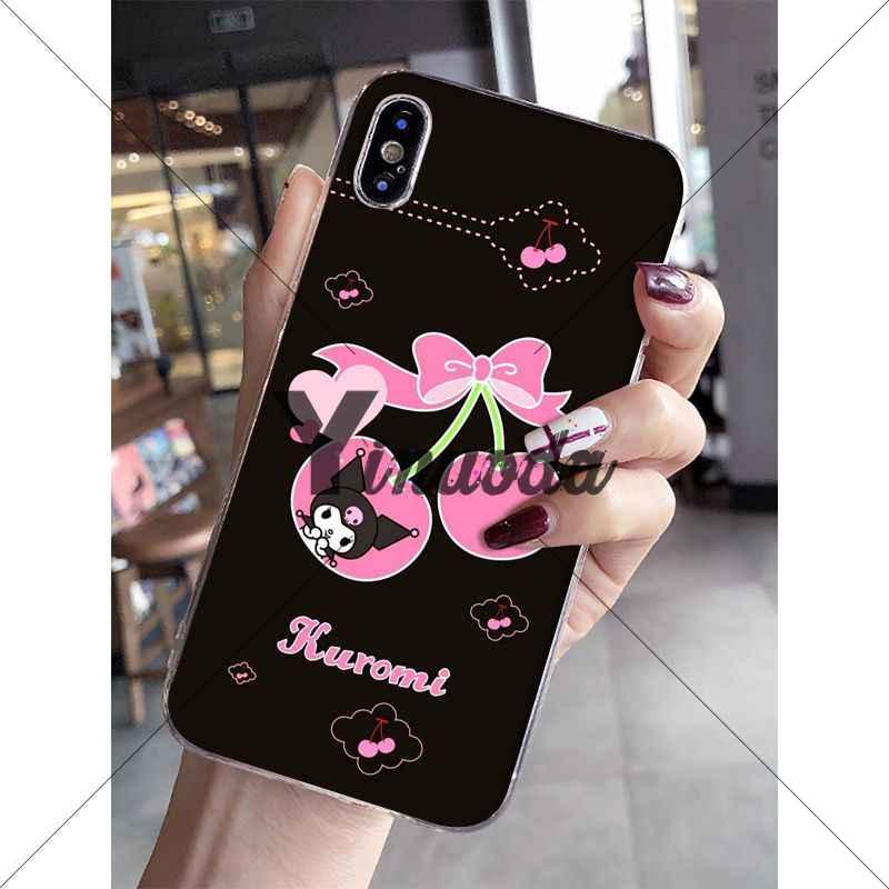 Yinuoda Kuromi renkli sevimli yumuşak silikon TPU telefon kapak için Apple iPhone 8 7 6 6S artı X XS MAX 5 5S SE XR mobil durumlarda