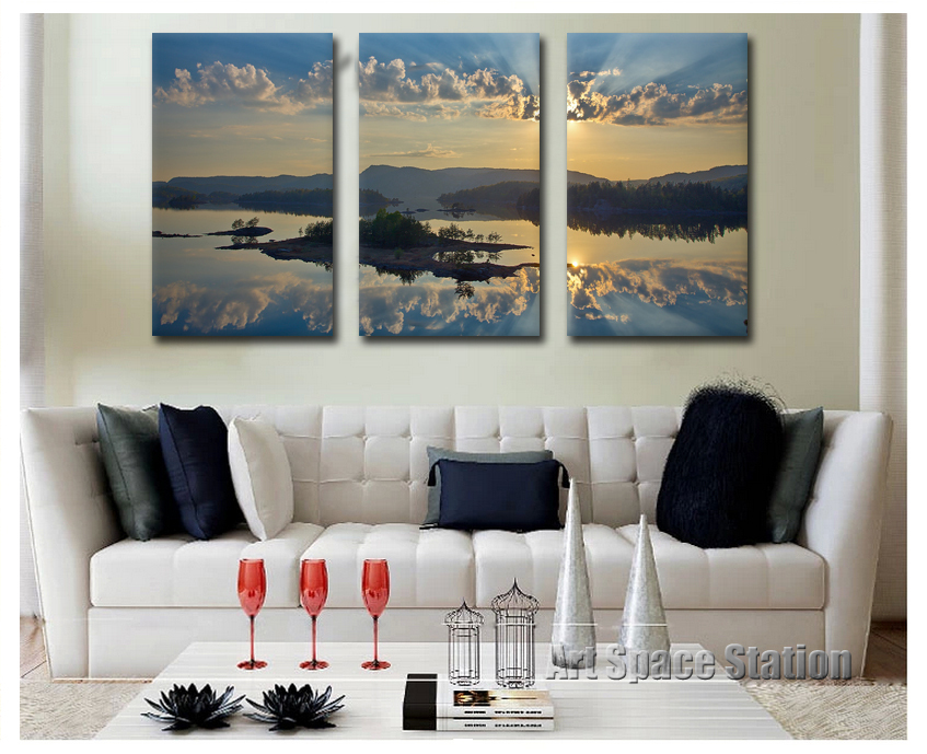3 Piece Sunset Beach Modern Wall Art Ocean Waves Painting Seascapes Pictures GICLEE PRINT on CANVAS Sea Decoration For Home