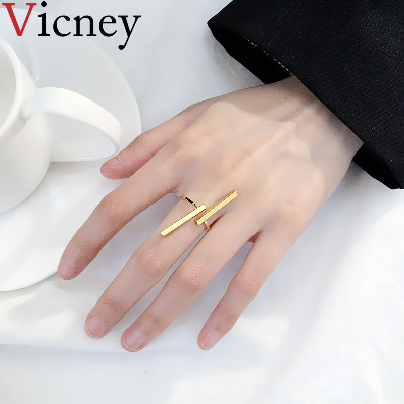 Vicney New Creative Personality Ring Simple Double Word Geometry Ring Gold Silver Black Color Opening Adjustable Ring for Women