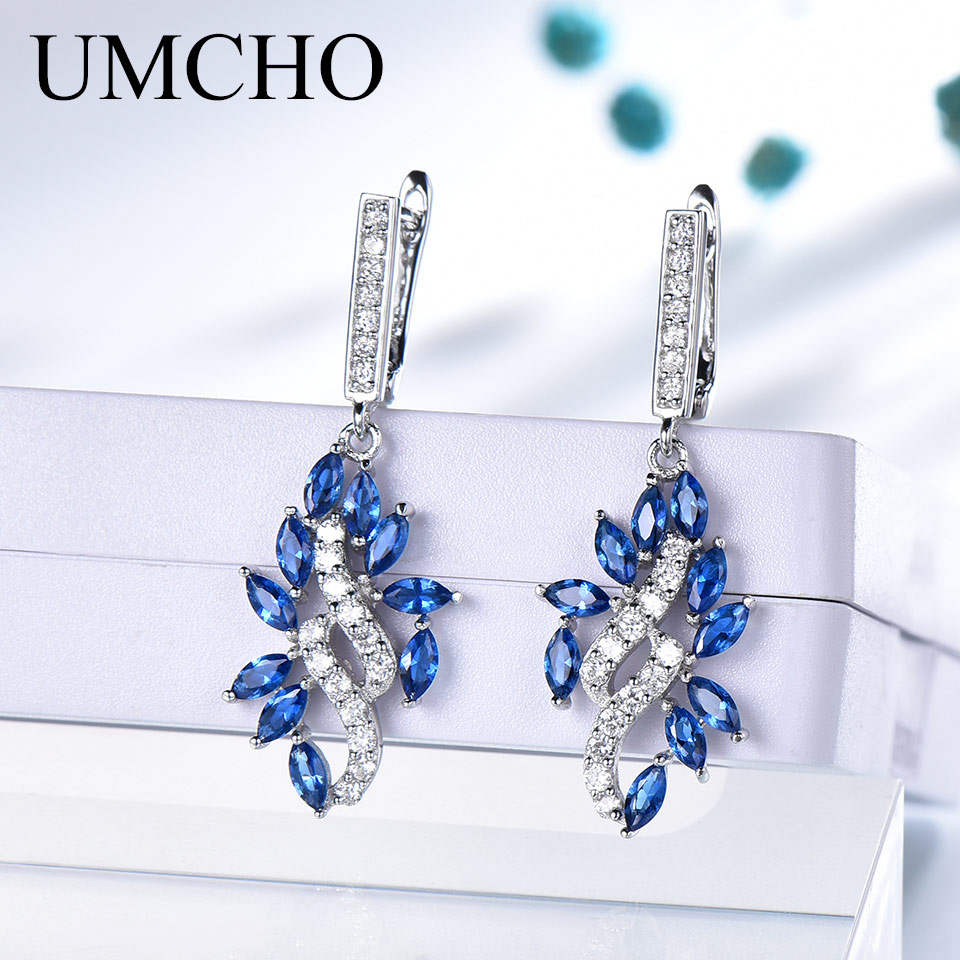 UMCHO Blue Sapphire Drop Earrings for Women Genuine 925 Sterling Silver Gemstone September Gemstone Birthday Party Gift for Her in Earrings from Jewelry Accessories