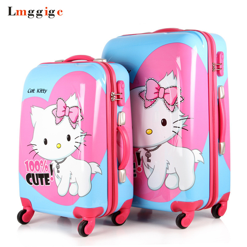 Hello Kitty Luggage Suitcase bag set,Women Rolling Travel Box,Children Cartoon ABS Hardcase Trolley Case
