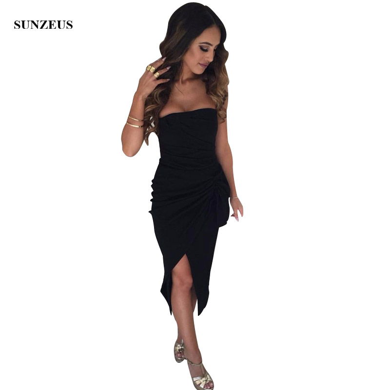 Black   Cocktail     Dresses   Tea Length Strapless Straight Party Gowns With Slit Women Coctail   Dress   Simple Night Wear SAU352