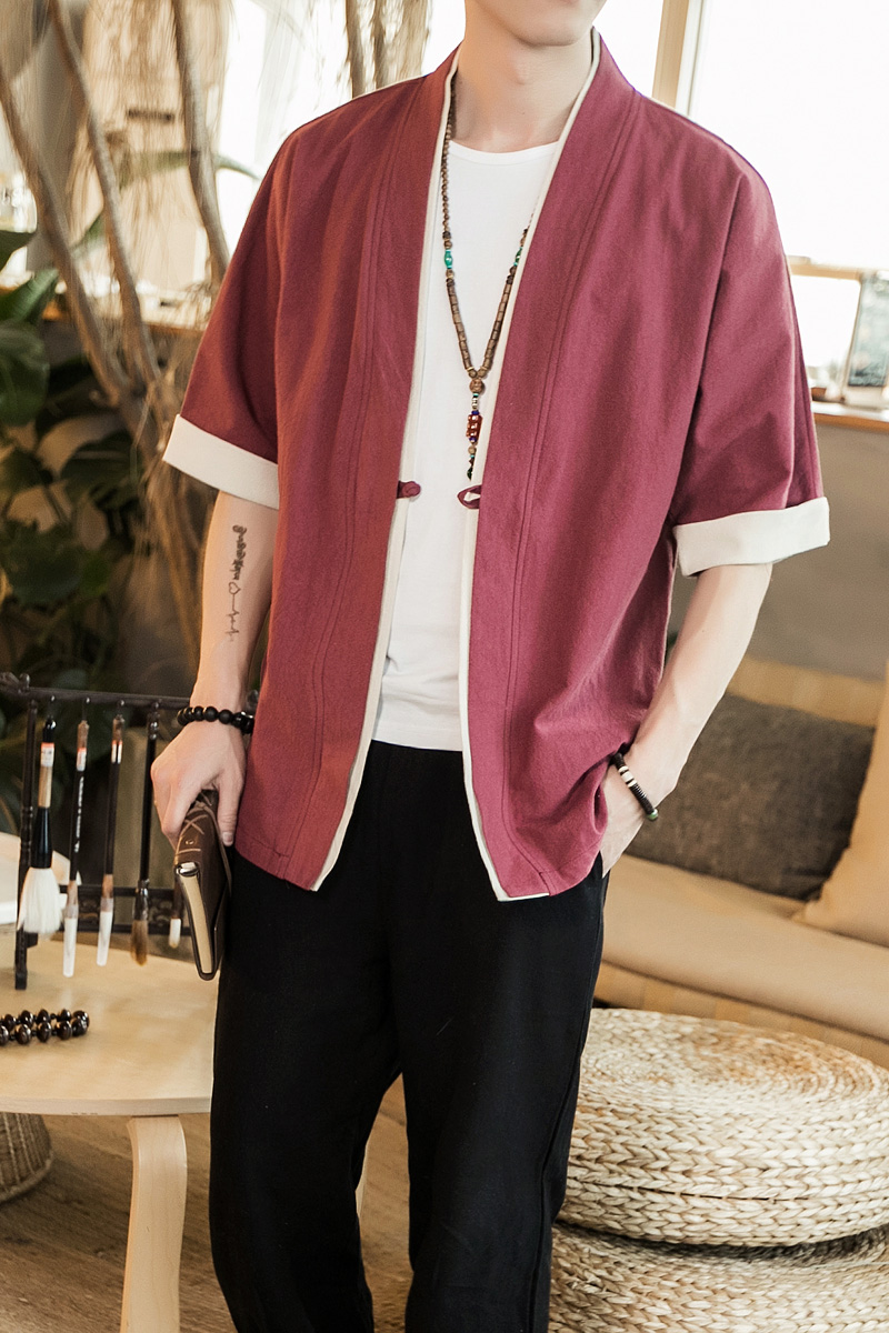 Image 5 - 2019 Men Cotton Linen Jacket China Style Kongfu Coat Male Loose Kimono Cardigan Overcoat Open Stitch Coat Mens Windbreaker 5XL-in Jackets from Men's Clothing