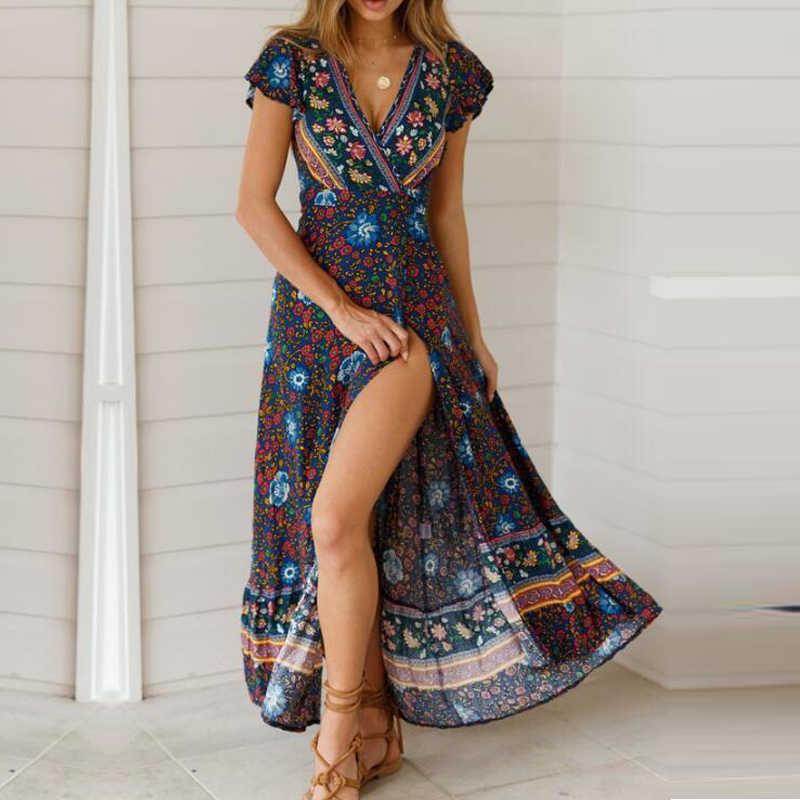 3238f3dfcb6 Missufe Deep V Neck Floral Print Bohemian Summer Dresses Women Beach Wear  Tunic Split Sexy Smock