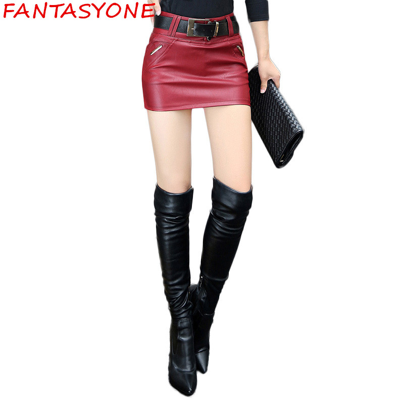 FANTASYONE New 2017 Fashion Slim Thin Package Hip Women Skirt Short PU Leather Skirt Sexy Mini Pencil Skirt Red Black Skirt 2XL
