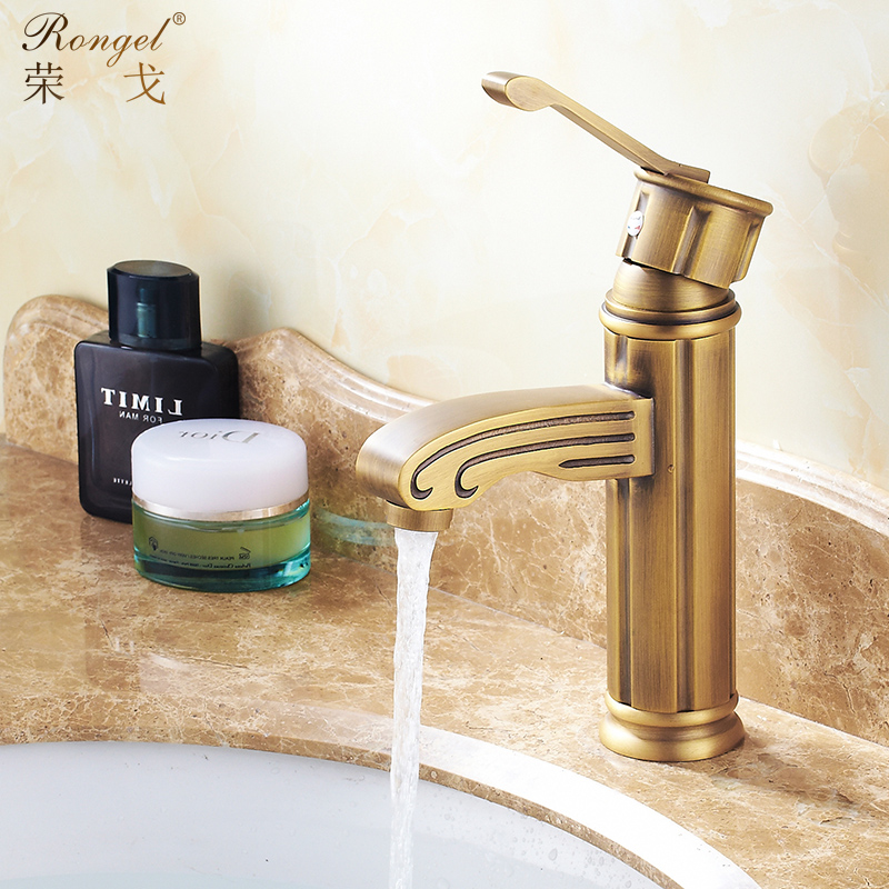 Basin Faucets Chinese Carved Brushed Torneira Cozinha High Arch Bathroom Sink Faucet Bronze Hot Cold Mixer Taps YD-202