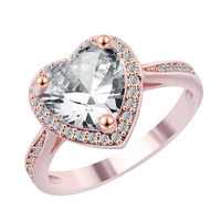 Charm White Heart Zircon Rings Purple/White/Red Fire Opal For Women Vintage Fashion White Gold Filled Birthstone Drop Shipping