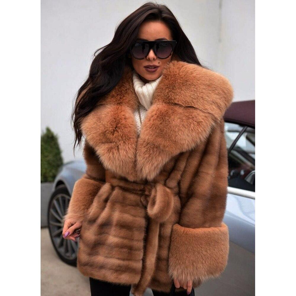 Import Real Full Pelt Mink Fur Coats With Fluffy Fox Fur Collar Mink Belt Winter Fashion Warm Genuine Fur Manual Women Overcoat