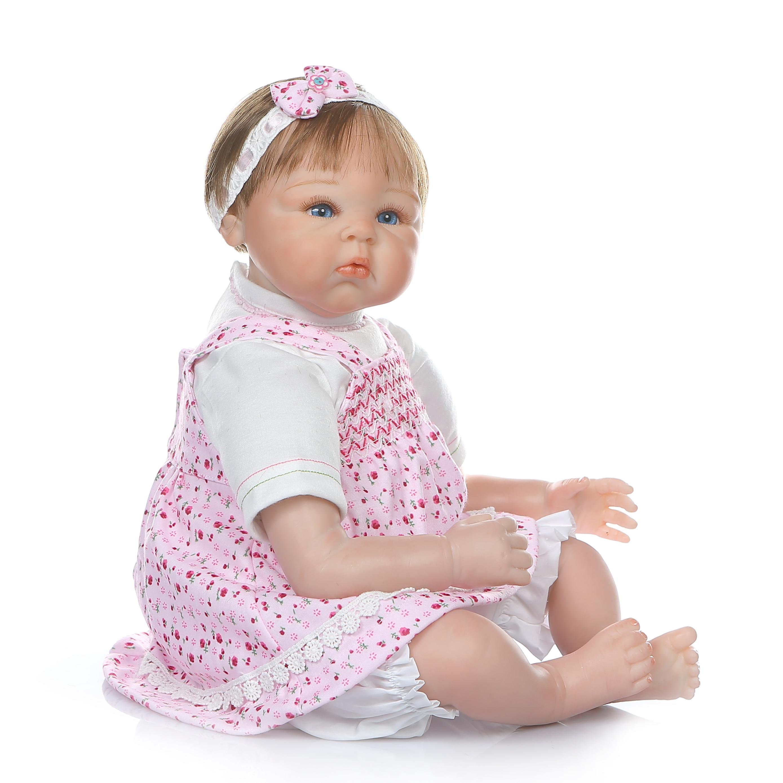 NPK 55 CM 0 3Month prawdziwe dziecko bebe realistyczny reborn baby doll realistyczne miękkie silikonowe baby girl doll ważone ciała zakorzenione do włosów w Lalki od Zabawki i hobby na  Grupa 2
