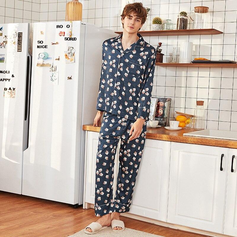 Silky Sleep Pajamas Mens Strap Shirt Pants Suit Sleepwear Sets Casual Male Home Wear Top Nightwear Sexy Robe Bath Gown L XL XXL