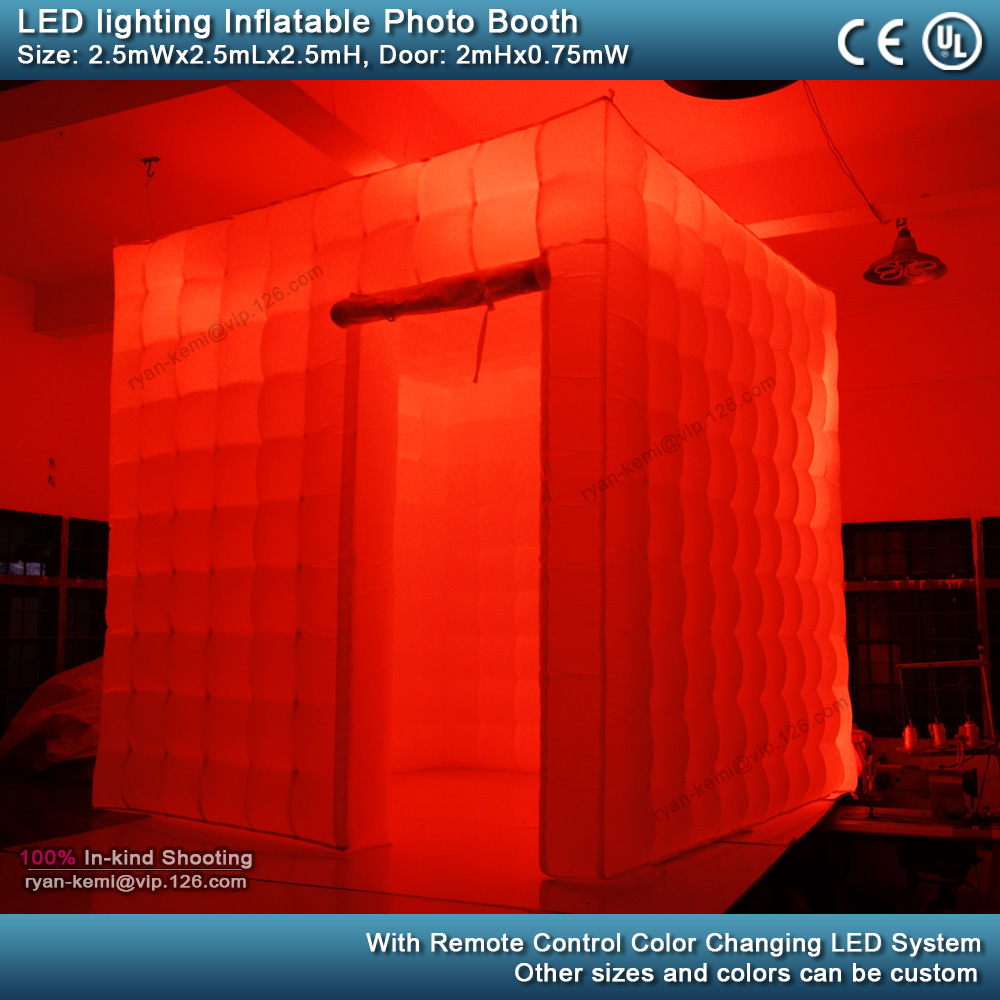 red 2.5m 8.2ft inflatable photo booth LED lighting portable inflatable photo tent enclosure cube tent with blower