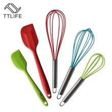 TTLIFE Nuevo 5 unids Conjunto Higiénico Accesorios de Cocina Herramientas de Cocina Utensilios Para Hornear de Silicona Batidor Espátulas
