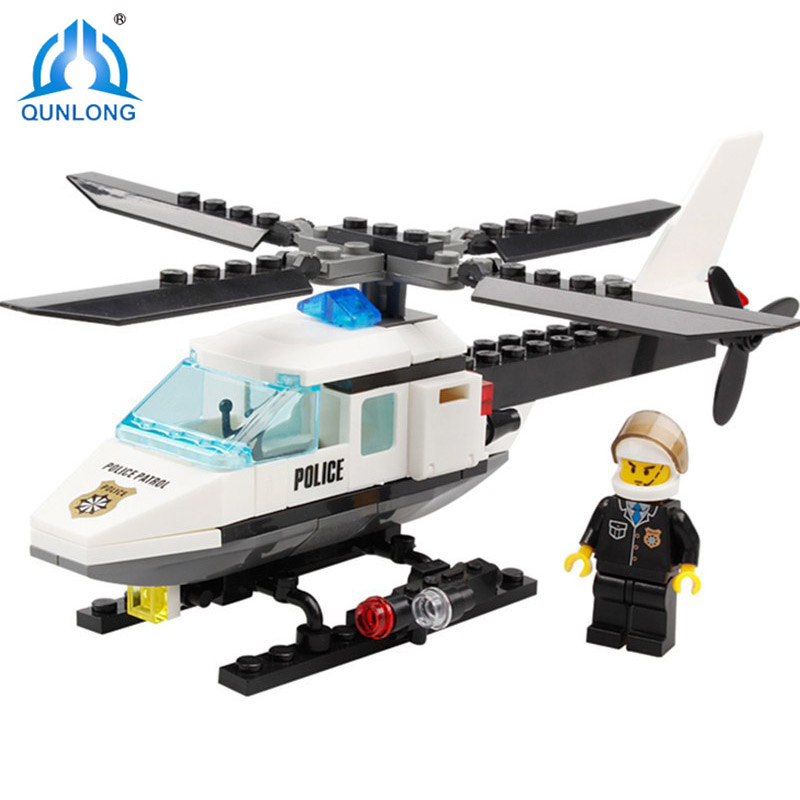 Qunlong Police Helicopter Modle Building Blocks 102PCS DIY Bricks Set Educational Toys For Children Compatible With Legoe City 102pcs diy big size building blocks bricks city creative with educational compatible with legoing duploe toys for children gifts