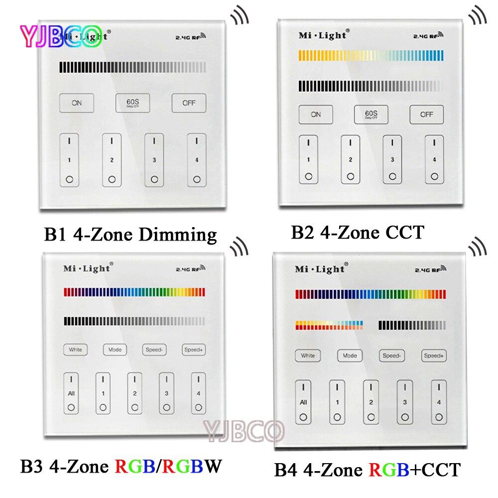 2,4g Mi Licht B1 B2 B3 B4 4-zone Smart Touch Panel Led Drahtlose Dimmer Controller Für Rgb /rgbw/cct Helligkeit Led Streifen Led-lampe Beleuchtung Zubehör