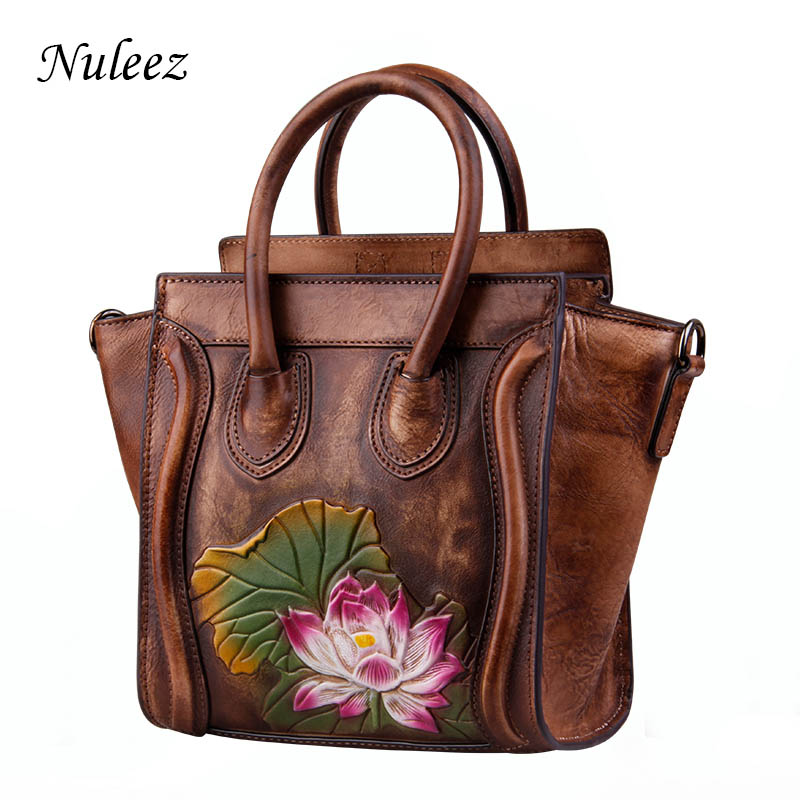 Nuleez genuine leather bag women high quality cowhide hand cave waterlily Chinese style unique and elegant tote-bag 2018 popularNuleez genuine leather bag women high quality cowhide hand cave waterlily Chinese style unique and elegant tote-bag 2018 popular