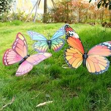 1 шт. 30 см случайных цветов Искусственные бабочки для украшения сада поддельные моделирования бабочки колья Двор растение газон Декор A