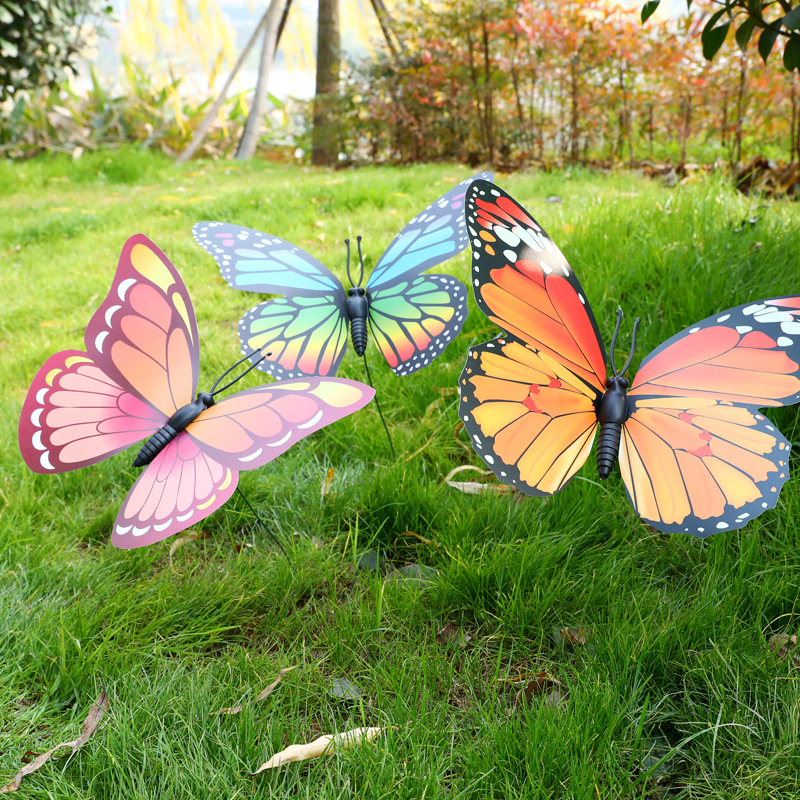 1PC Lawn Decor Fake Butterfly Random Color  30cm Artificial Butterfly Garden Decorations Simulation Butterfly Stakes Yard Plant