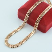 FJ 7mm Men Womens  Rose 585 Gold Color Necklace Link Curb Chain Hip Hop Jewelry Chunky(NO RED BOX)