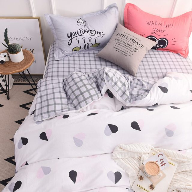 White 100 Cotton Grid Bed Sheets Bedding Set For S With Heart Pattern Gentle Duvet Cover Queen Twin Full Size