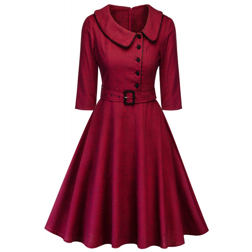 2019 Casual Burgundy Elegant Office Lady Plaid 3/4 Sleeve Vintage Dress Turn-down Collar Belt Women Retro Spring Autumn Dresses