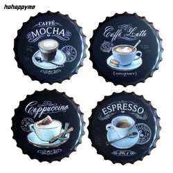 اسبريسو Caffe لاتيه البيرة زجاجة غطاء معدني القهوة لوحات الحائط ملصق فني الرجعية المعادن خمر علامات القصدير اللوحة ديكور المنزل 40 سنتيمتر