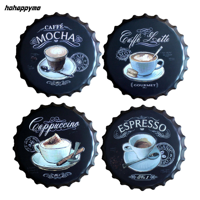 Espresso Caffe Latte Beer Bottle Cap Metal Coffee Wall Plaques Retro Art Poster Metal Vintage Tin Signs Painting Home Decor 40CM