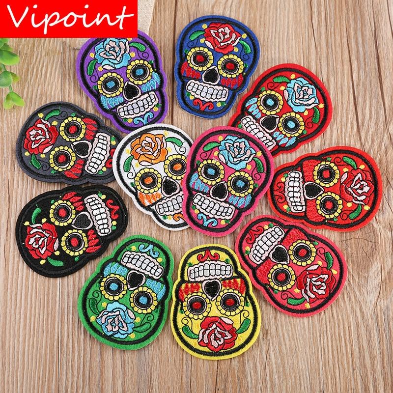 VIPOINT crânio bordado patches emblemas patches de flor applique patches para vestuário YX-248
