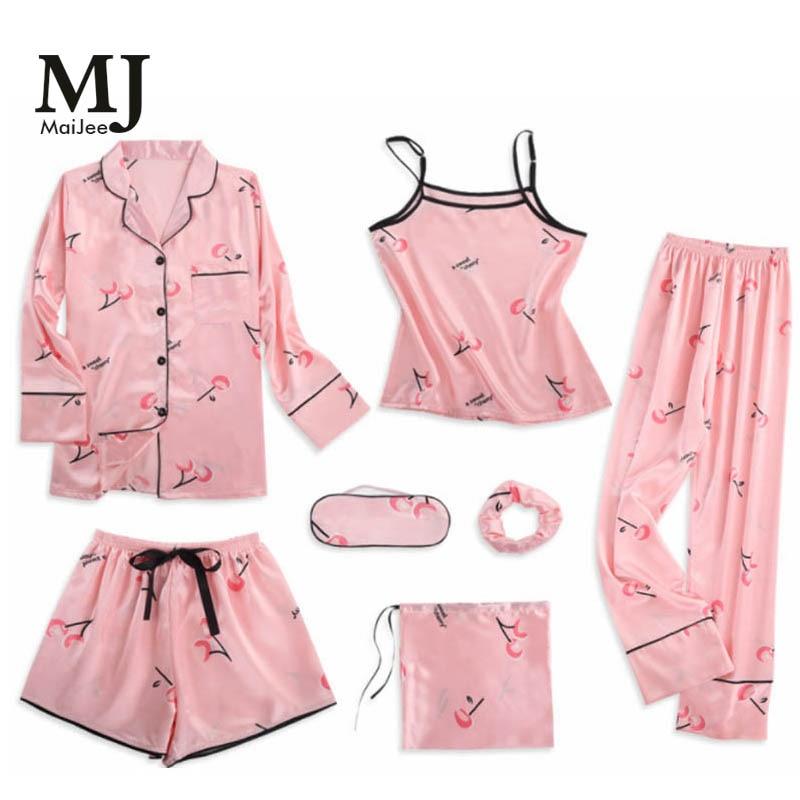 MJ046A 7 Pic Satin Pajamas Pyama Woman Night Suit Invierno Mujer Pajama Set Silk Pijama Mujer Pink Pijama Feminino Pigiama Donna
