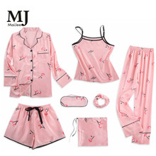MJ046A 7 Pic Satin Pajamas Pyama Woman Night Suit Invierno Mujer Pajama Set Silk Pijama Pink Feminino Pigiama Donna
