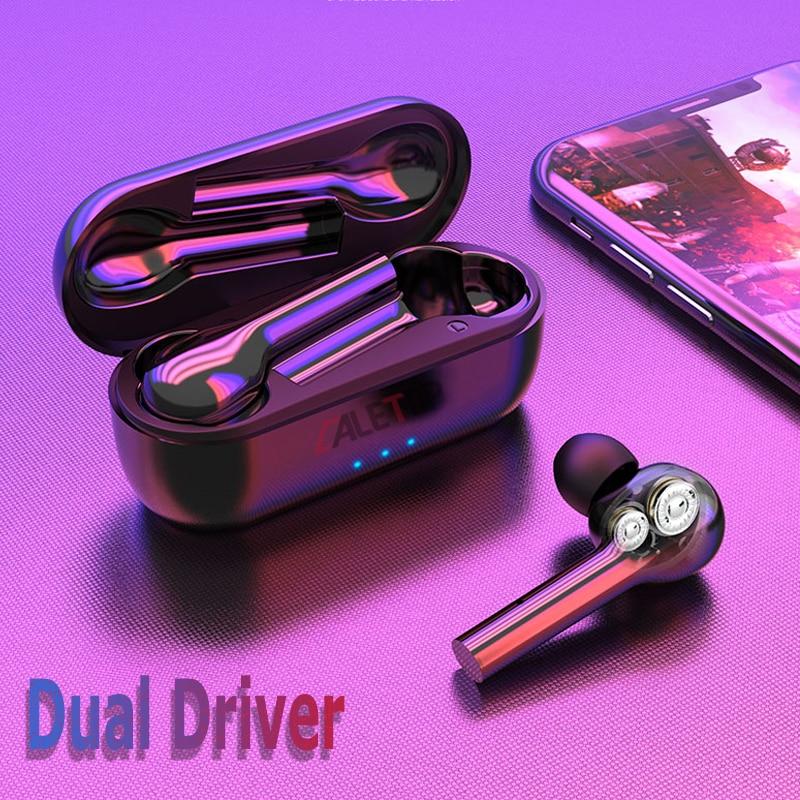 Caletop TWS Wireless Headphones Dual Driver Super Bass Bluetooth 5 0 Earphones Sporting Headsets 6D Music
