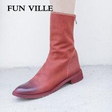 حذاء نسائي كاحل موضة خريف وشتاء 2018 من FUN VILLE حذاء مارتن من الجلد الأصلي بمقدمة مستديرة وسحاب حذاء مسطح مثير للسيدات