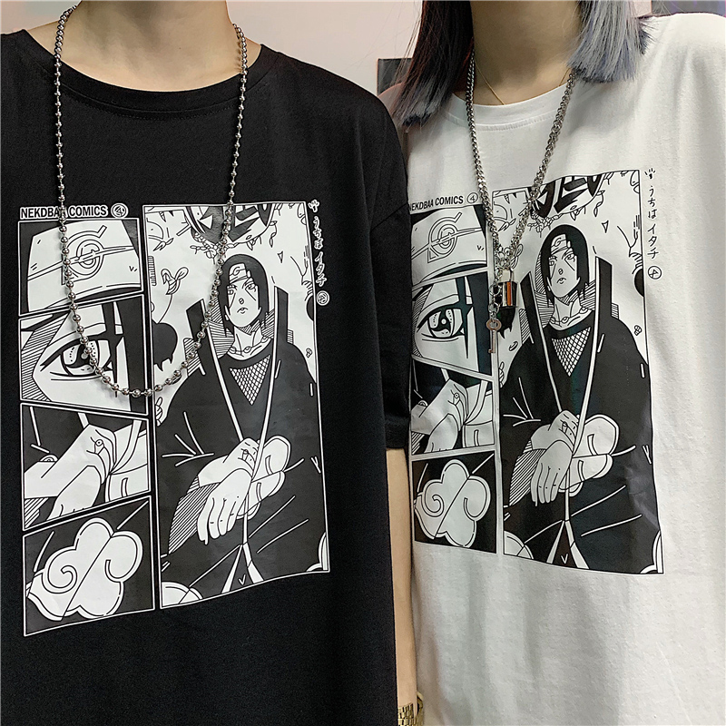 Itachi Uchiha Man summer   t     shirt   Short Sleeve O neck oversized Clothes 2019 naruto Print anime Couple Fashion Cotton Polyest Top