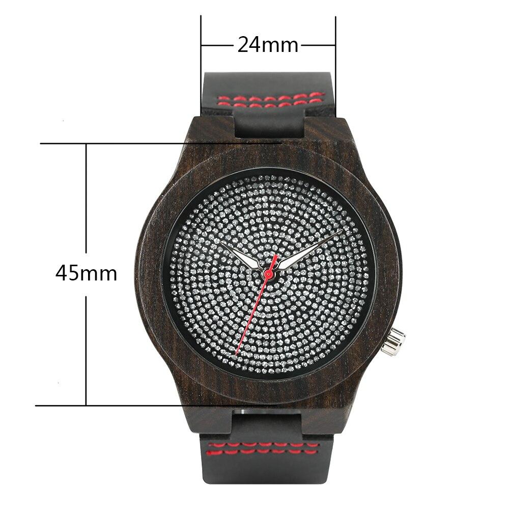 100% Nature Sandalwood Women Fashion Rhinestone Wood Watches Black Leather Band Men Luxury Quartz Wooden Bamboo Wristwatches