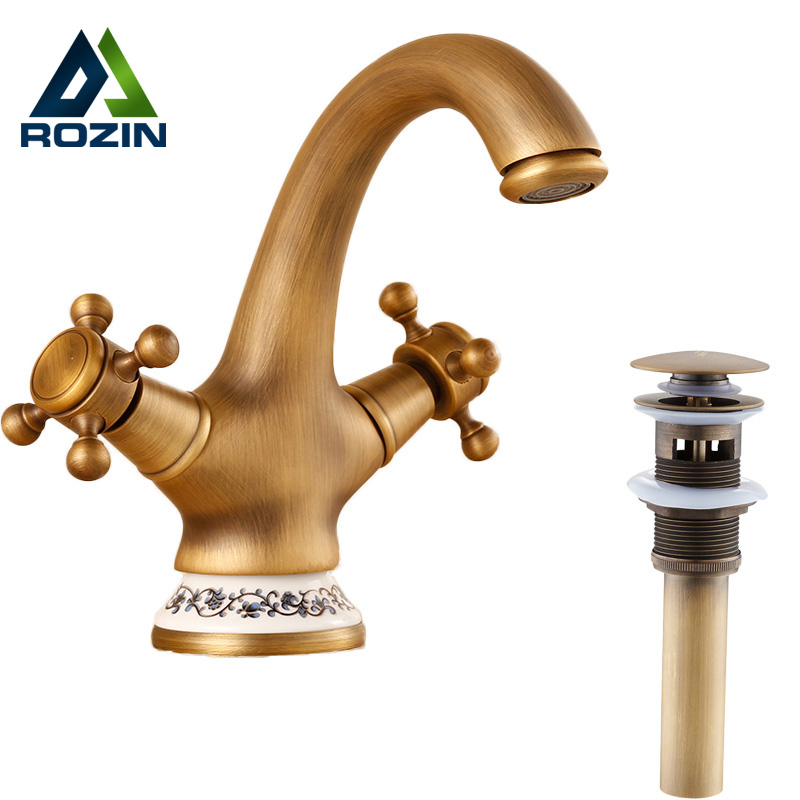 Deck Mounted Antique Brass Retro Basin Vanity Sink Faucet Dual Handles Hot and Cold Tap Brass Pop Up Drain pop up waste vanity vessel sink drain without