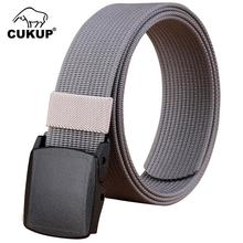 CUKUP Mens Designer Quality Outdoor Wear Resistant Canvas Belts Thickening Plastic Buckle Male Casual Accessories Belt CBCK068